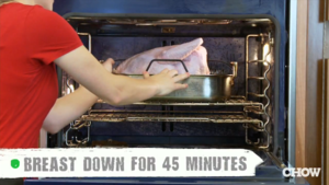 Roast Your Turkey Upside Down for the First Half-Hour to Ensure Juicy White Meat