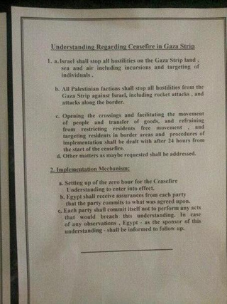 Ceasefire Agreement Brings Bloody Israel-Gaza Conflict to an End [UPDATE x2: With Photo of Deal]