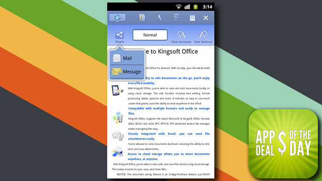 Daily App Deals: Get Kingsoft Office for Android for Free in Today's App Deals