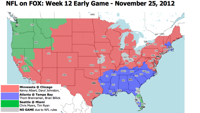 Which TV Market Is Getting Screwed This Sunday? An Analysis Of Week 12 NFL Viewing Maps