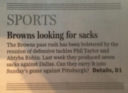 Cleveland Newspaper Headline Inadvertently Says Browns Have No …