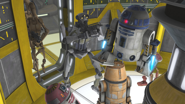 R2-D2 and a band of astromech droids fly into a secret mission on Clone Wars!