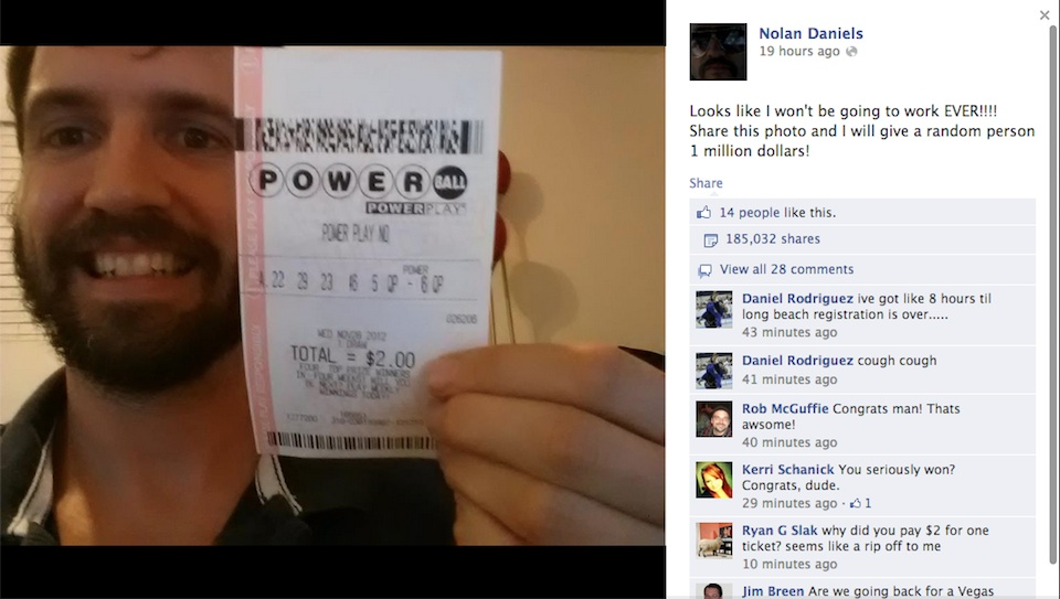 Click here to read Fake Winning Powerball Ticket Goes Viral on Facebook Proving Once Again That Facebook Users Will Share Anything