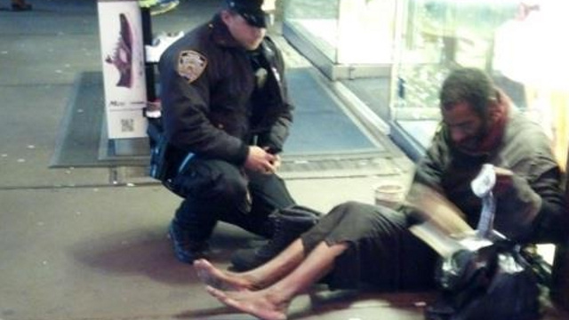 Homeless Man Says Boots He Got from NYPD Cop Are Too Expensive to Wear