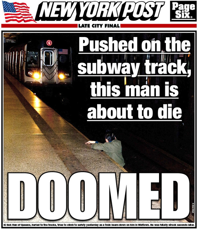 Photo of Man's Imminent Demise Covers Front Page of the New York Post, Sparks Outrage