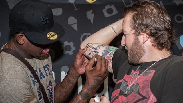 A Fan At The Dennis Rodman Viewing Party Experience Got Rodman's Autograph Tattooed On His Arm