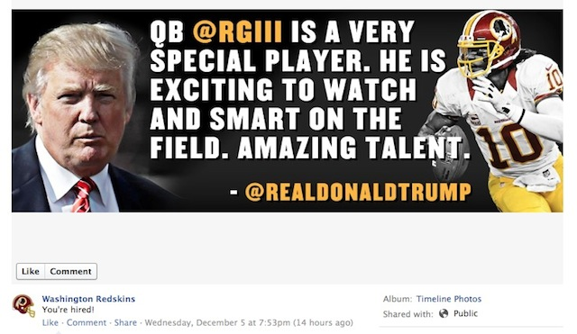 The Redskins Were So Excited That Donald Trump Praised RGIII Th…