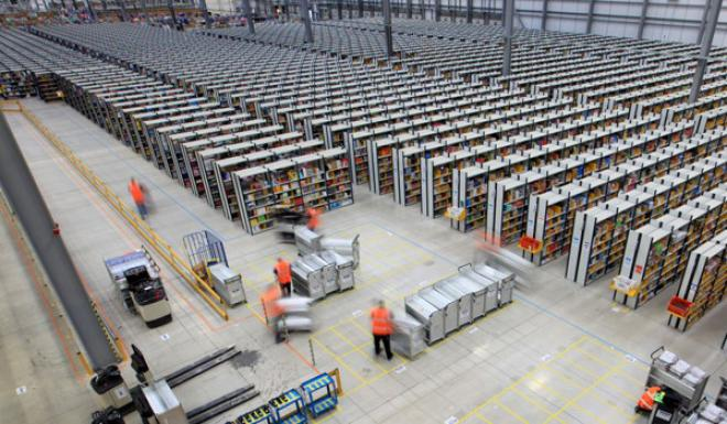 the inside of an amazon warehouse is a terrifying sight