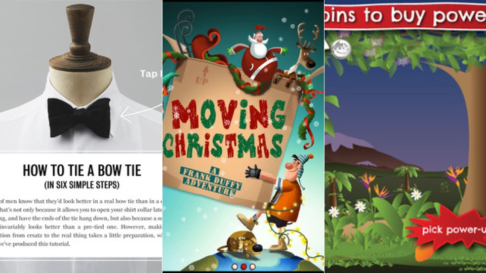 New iPad Apps: Mr Porter Tux, Moving Christmas, Bungee Monkey 2