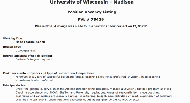 """Minimum of 5 Years Of Successful Collegiate Football Coaching Experience Preferred"": You Can Apply To Coach Wisconsin Football"