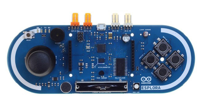 The arduino esplora is an open source controller packed