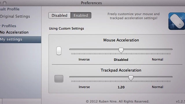 Smooth Cursor for Mac Controls Acceleration for a Mouse and Trackpad Separately