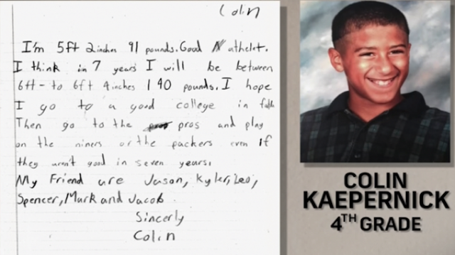 Colin Kaepernick Wrote A Letter To Himself In Fourth Grade Predicting That He'd Become A Pro Football Player