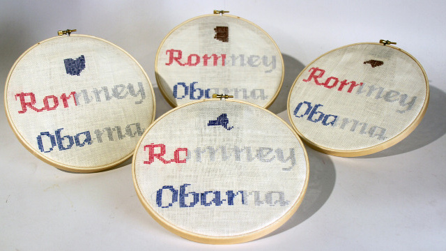 Here Is A Beautiful Cross-Stitch Visualization of How Women Voted In The Last Election