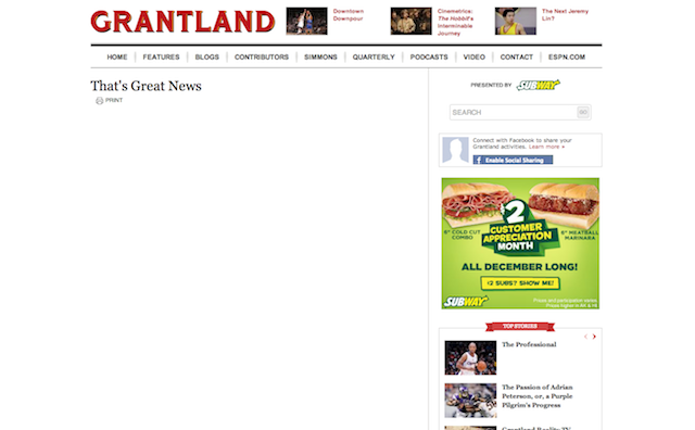 There Are Some Odd Grantland Headlines Floating Around In Internet Purgatory