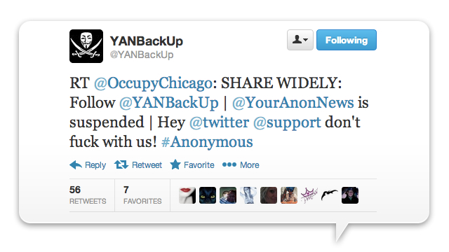 Twitter Kills And Then Revives Anonymous' Account