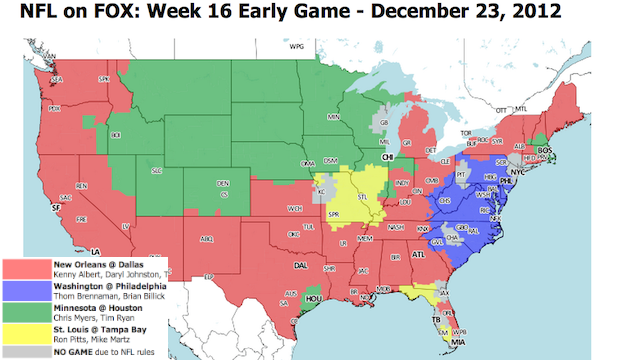 Which TV Market Is Getting Screwed This Sunday? An Analysis Of Week 16 NFL Viewing Maps