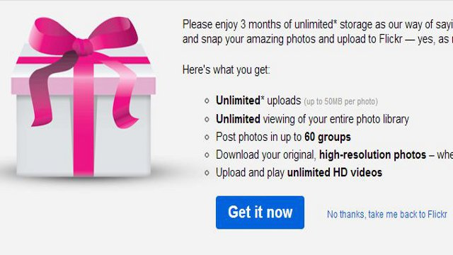 Claim Three Free Months of Flickr Pro This Holiday Season