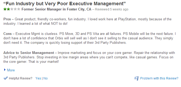 > Sony �Employee� Review: �I Don�t Have A Lot Of Confidence That Orbis Will Sell Well� - Photo posted in BX GameSpot | Sign in and leave a comment below!