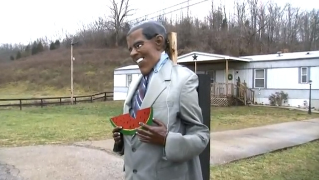 Racist Homeowner Claims His Effigy of President Obama Eating Watermelon Isn't Racist
