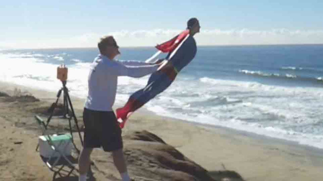 Must-Watch Video of the Day: Life-Size Superman Flies Over the Beach