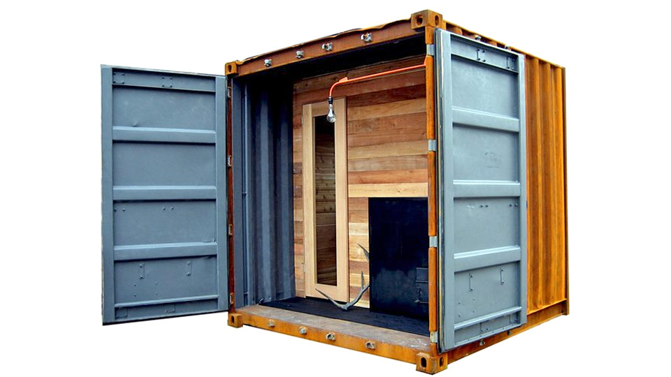 portable shipping container sauna is the ultimate stress toy gizmodo australia. Black Bedroom Furniture Sets. Home Design Ideas