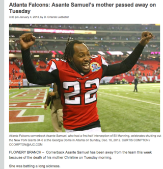 Asante Samuel's Mother Died, And The Atlanta Journal-Constitution Used An Inappropriate Photo