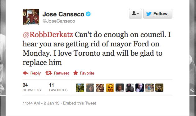 Jose Canseco Will Not Be The Next Mayor Of Toronto, Despite Pro…