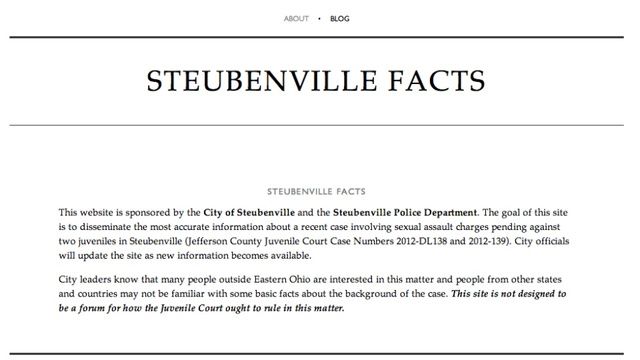 Steubenville City and Police Launch Rape 'Facts' Website In Hopes of ...