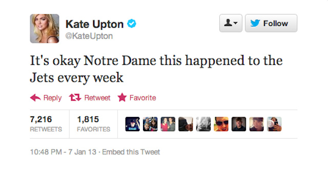 Kate Upton Throws Some Shade At Notre Dame And The Jets During BCS Championship