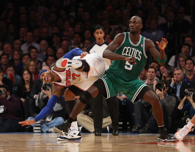 Carmelo Anthony And Kevin Garnett Got Into Some Kind Of Scrum In The Belly Of Madison Square Garden
