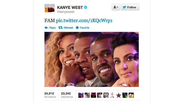 Kanye West Now Writing Twitter Fan Fic in Which He and Kim Are Members of the Knowles-Carter Family