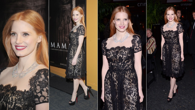 Jessica Chastain Rocks Ebony and Ivory