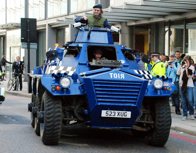 Vigilante Hippie Six-Wheeled Riot Tank Tries To Battle G20 Summit Protesters