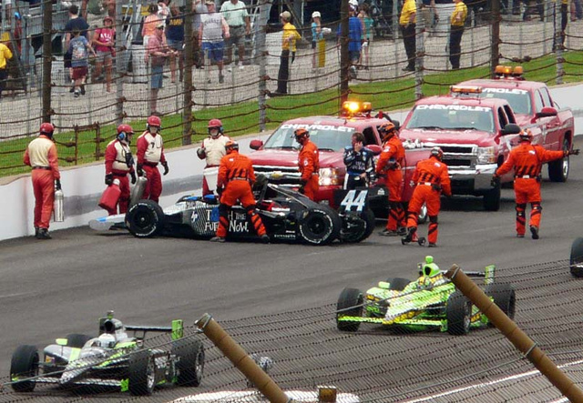 Indy 500: Davey Hamilton Hits The Wall In Turn Four
