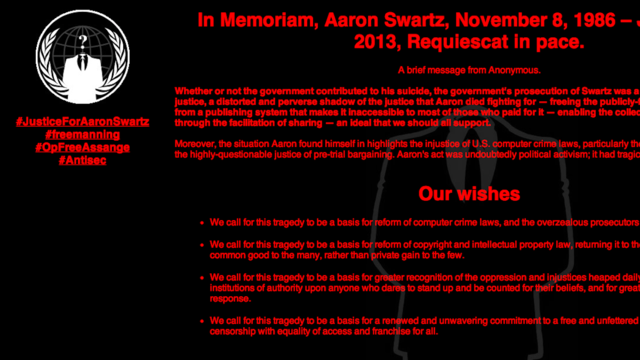 Click here to read Anonymous Hacks MIT in Aaron Swartz's Name