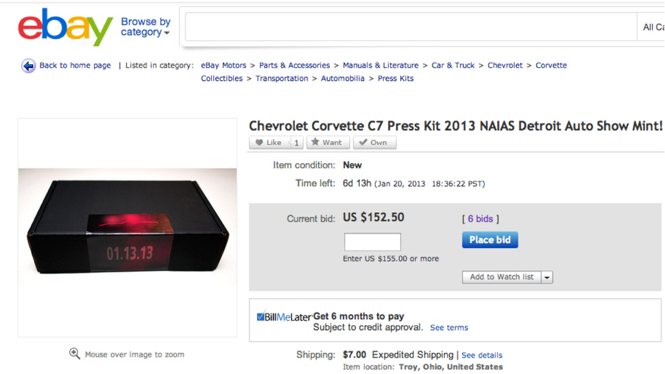 Some Schmuck Is Selling Their Free Corvette Press Kit For $150 $305 On eBay