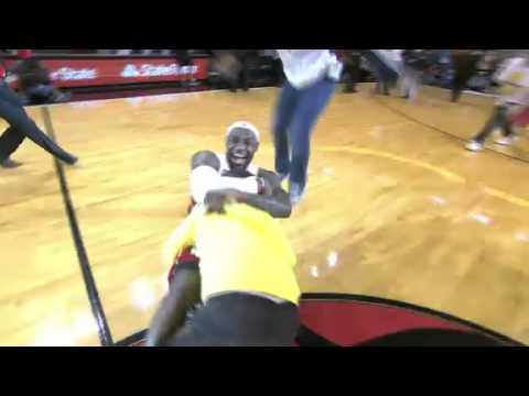 This Fan Getting Hugtackled By LeBron James After Hitting A Hal…