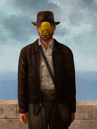Aliens, Hellboy, and Indiana Jones all reenact René Magritte's The Son of Man
