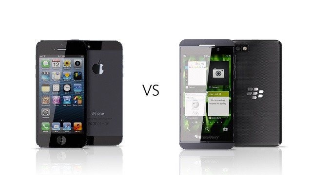 Gambar iPhone 5 Vs Blackberry 10