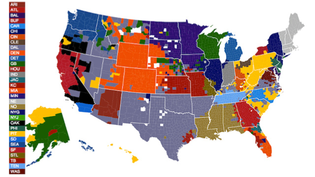 Click here to read NFL fans by U.S. county, according to Facebook