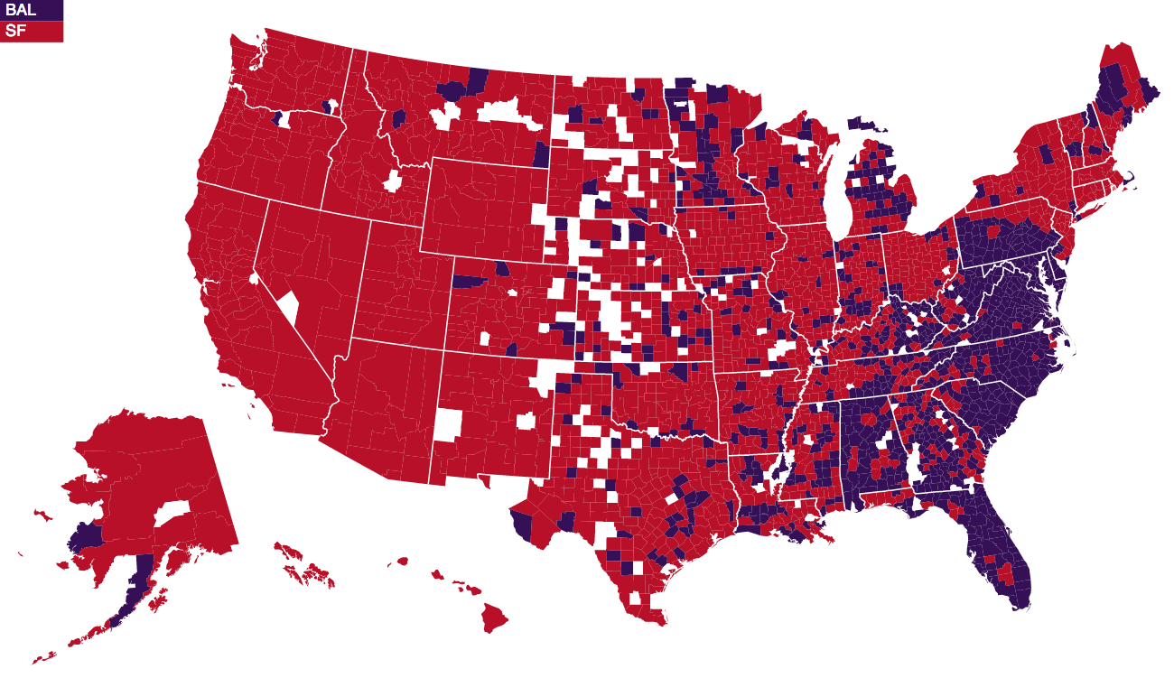 Super Bowl Facebook Data Science Discovers All The US Counties - Map of us cities with football teams