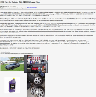 $23,000 Sebring JXi Wins Worst Car Ad Contest!