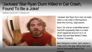Jackass star Ryan Dunn dies in car accident