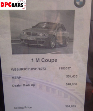 BMW dealer puts $40,000 markup on 1M coupe