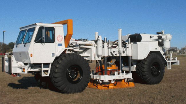 A monster truck that pounds the ground to simulate earthquakes