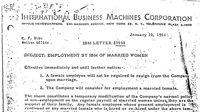 The Day IBM Let Married Women Work