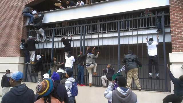 Ravens Fans Storm M&T Bank Stadium After Super Bowl Parade