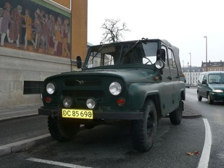 Land Rover Series III and UAZ-469 Down On The Copenhagen Street