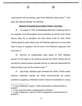 Mahindra v. Global Motors Lawsuit
